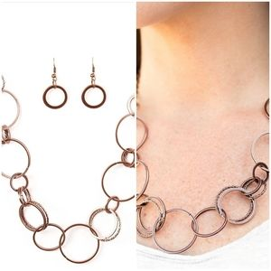 FOLLOW THE RING LEADER COPPER NECKLACE/EARRING SET